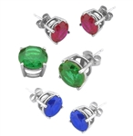 14K Solid White Gold Gold earring in Sapphire Ruby Emerald