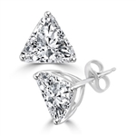 Trilliant cut Diamond earring with in Solid White Gold