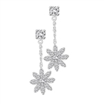 Whitegold earing in snowflake madeup of round cut