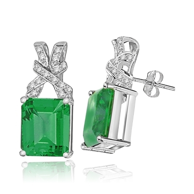 Five-carat emerald-cut white gold studs
