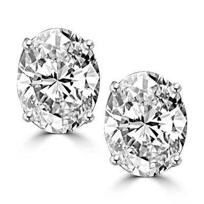 Solid white gold stud earing with oval cut stone