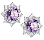 Floral Earrings with 3.5 Cts. Round Lavender Essence in center surrounded by Princess cut Diamond Essence and Melee. 6.5 Cts. T.W. set in 14K Solid White Gold.