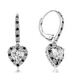 Diamond Essence leverback earrings, 1.0 Ct. each, Heart shape Diamond Essence surrounded by alternately set Onyx and Diamond Essence Melee, which flows on leverback also for additional sparkle. 4.0 Cts. T.W. set in 14K Solid White Gold.