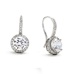 Diamond Essence Drop Earrings With Wire, 2 Cts. Each Round Brilliant Stone With Melee Around And On Bail, 5 Cts.T.W. In 14K White Gold.