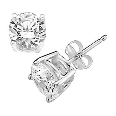 1 ct stud earrings in 14K Solid White Gold
