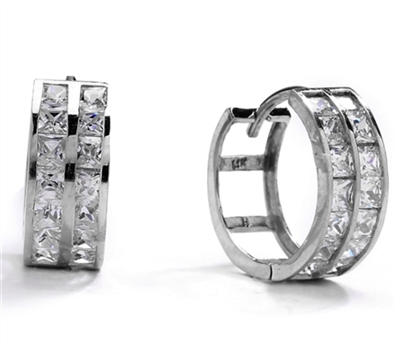Diamond Essence 14K Solid White Gold Huggies with Two Rows Of Princess Stones, 1.0 Ct. T.W.