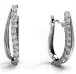 Diamond Essence 14K Solid White Gold Earrings with 2.50 Cts.T.W. Round Brilliant Stones.