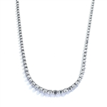 "16"" necklace of graduated round stones white gold"