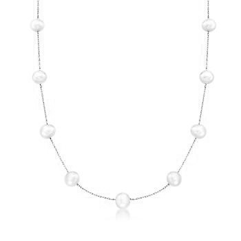 Diamond Essence 18 Inch Long Nine Station Necklace With 4.2mm Each Pearl in 14K White Gold Chain.