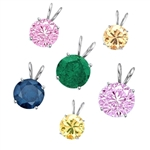 1 ct different color stone pendants White Gold