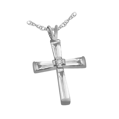 14K Solid White Gold long cross pendant with baguettes