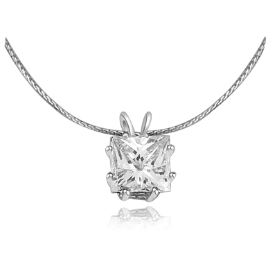 2ct princess-cut pendant in Solid white Gold