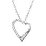 Diamond Essence Heart Shape Pendant with Round and Princess stones, 1.50 cts.t.w. in 14K Solid White Gold.