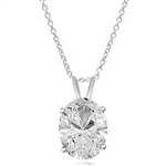 Solitaire Pendant with Oval Cut Diamond Essence in 14K Solid White Gold.