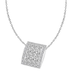 Oval cut Diamond pendant in Solid White gold
