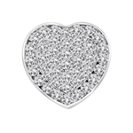Beautiful Heart Pendant with the outer ring of heart encircling the micro pave set bulge heart. Truly lovable. 2 Cts. T.W. set in 14K Solid White Gold.