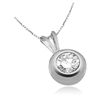 1 ct bezel set round stone white gold pendant