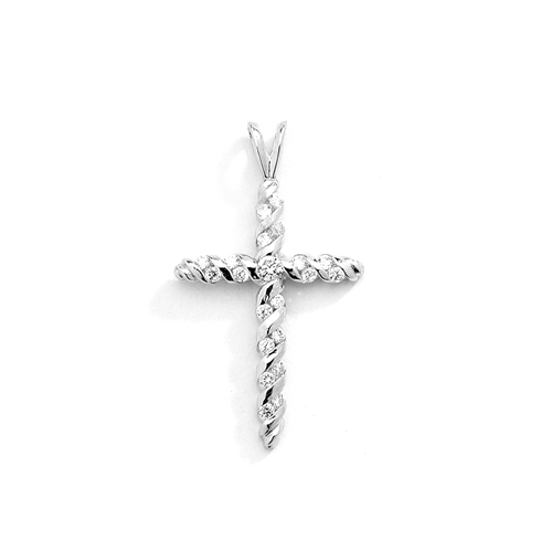 Diamond Essence round stones set in spiral gold twists to make this beautiful cross pendant. 0.45 ct.t.w. in White Gold.