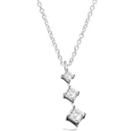 Princess cut Diamond Essence stones set graduating from small to large in 14K Solid White Gold, 2.5 cts.t.w. Chain not included.
