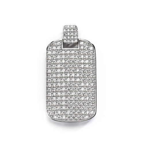 "Designed to Impress, this solid tablet pendant is perfect for your he-man! One side completely covered with Diamond Essence Accents, 2"" H and 1-1/4""W. In 14k Solid White Gold. Chain Not Included.."