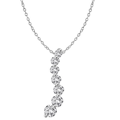 Diamond Essence Journey Pendant of 7 Round Brilliant Graduated Stones set in 14K Solid White Gold. 5.0 cts.t.w. (Also available in Platinum Plated Sterling Silver, Item# SPE1702).