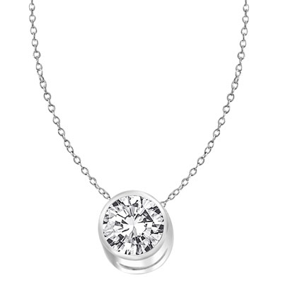 "Diamond Essence 1.0 Ct. Round Brilliant set in Bezel setting of 14K White Gold, comes as a Slide on 14k White Gold chain of 18"". Perfect for everyday."