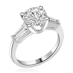14K Solid White Gold Diamond Essence engagement ring. 1.0 ct.round brilliant stones and delicate baguette on each side. 1.25 cts.t.w. Perfect for the occassion.