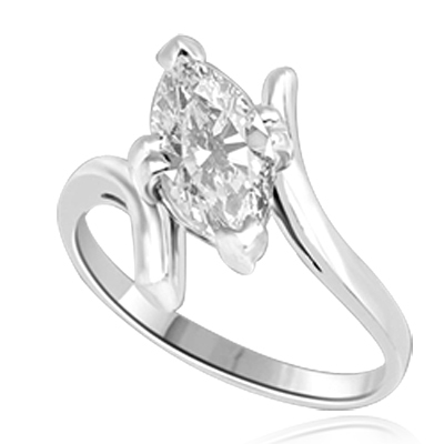 Solitaire Ring with artistically set Diamond Essence Marquise in prong setting. 1.5 Cts. T.W. set in 14K Solid White Gold.