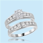 1carat round diamond white gold wedding ring set