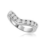V-shape with eleven round stones white gold ring
