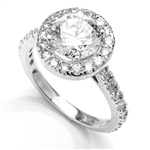 Diamond Essence Halo Setting Designer Ring With 2 Cts. Round Center and Melee around And On The Band, 4.50 Cts.T.W. In 14K White Gold.