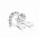 Almamiva and Rosina - Pear Shaped Center Enhances this Wedding Set. 1.75 Cts. T.W with round melee channel set down the wedding band. You will live happily everafter! In 14K White Gold.