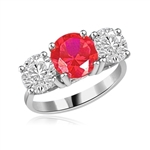 ruby round stones in white gold ring