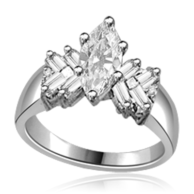 Glowing Ring with 1 Ct. Marquise Center and Baguette accents, 2 Cts. T.W, in 14K White Gold.