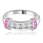 Brilliant channel-set Diamond Essence diamonds with a bar of Princess cut Ruby Essence on either side. 1.35 cts. T.W.  set in 14K Solid White Gold.