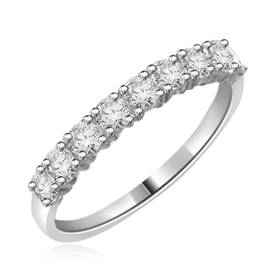 14K Solid White Gold ring with round stones 1.2 cts.t.w.