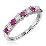 14K Solid White Gold Ring with round Ruby stones