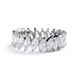 White gold ring- marquise cut stones set in angular setting