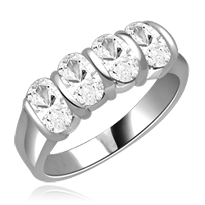Mesmerizing Band that is artfully decorated with four matching Oval Cut Diamond Essence Masterpieces. 2 Cts. T.W, in 14K  White Gold.