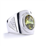 Man's classy wide bodied Ring, two-tone, with Oval cut center stone set in 14K Solid White Gold, 6.15 Cts.t.w.