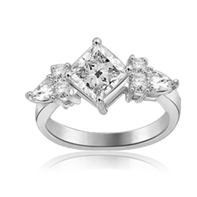 1.25ct princess cut diamond stone in White gold