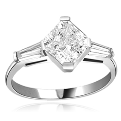 1.75 cts Square cut Diamond ring in 14K Solid White Gold