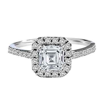 Diamond Essence Designer Ring with 1.25 ct. Asscher cut center stone surrounded by round stones. 1.75 cts. T.W. set in 14K Solid White Gold.