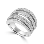 Diamond Essence Ring With Seven Rows of Melee, 1.50 Cts.T.W. In 14K White Gold.