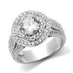 Diamond Essence Designer Ring With Round Brilliant 1 Ct. Center surrounded By Melee, 3 Cts.T.W. in 14K Solid White Gold.