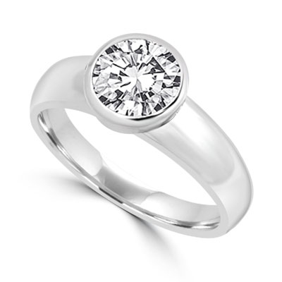 Diamond Essence 1.25 Cts.T.W. Round Brilliant Bezel Set Solitaire Ring in 14K White Gold.