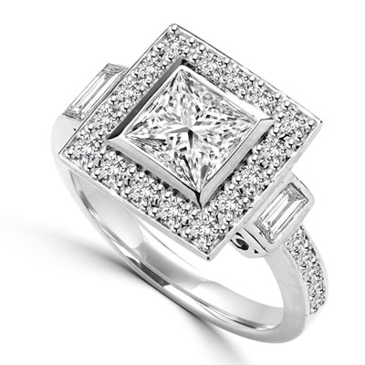 Diamond Essence Designer Ring With 1.50 Cts. Princess stone In Center and Round Melee On Four Sides And Band, 2.25 Cts.T.W. In 14K White Gold.