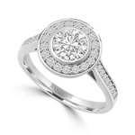 Diamond Essence Bezal set Ring with 1 Ct. Round Brilliant And Surrounding Melee, 1.25 Cts. T.W. In 14K White Gold.
