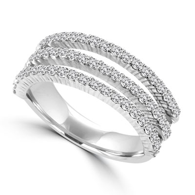 Diamond Essence Ring with Round Brilliant Melee Set In Three Delicate Rows, 1.50 Cts.T.W. In 14K White Gold.