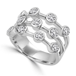 Diamond Essence Round Brilliant Ring with 0.20 Ct. Each Set In Bezel Set Designer Bars, 2.20 Cts.T.W. In 14K White Gold.